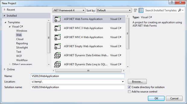 New ASP.NET Web Application in Visual Studio 2012