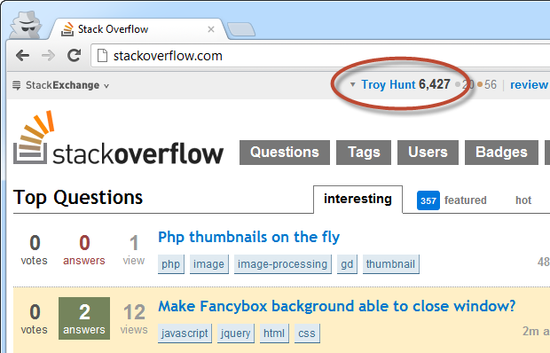 Now logged on to Stack Overflow after submitting the cookie