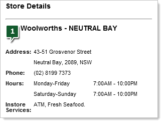 Woolworths showing locally targeted info