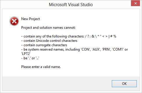 Disallowed characters in a new Visual Studio solution