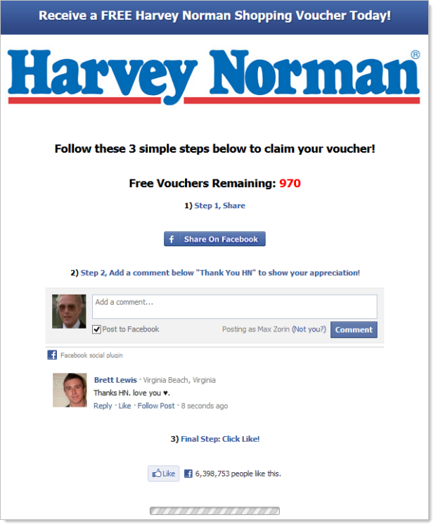 Same scam running at harveynorman.org