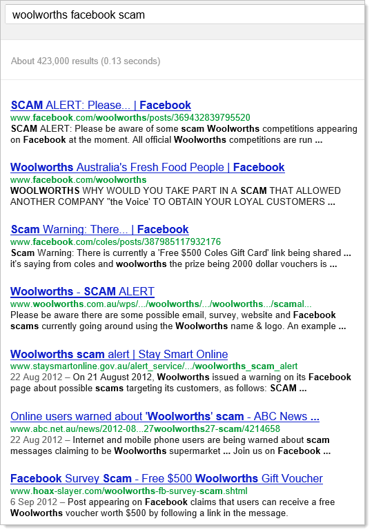 "Google search for ""woolworths facebook scam"""