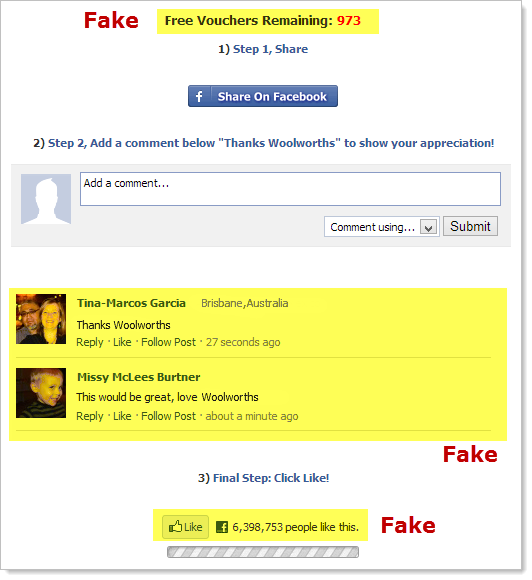Fake components of the scam page