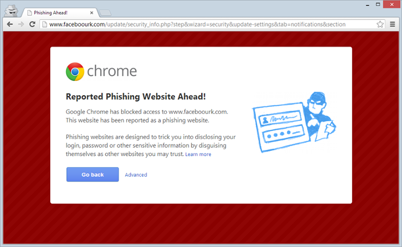 Chrome's phishing warning for faceboourk.com
