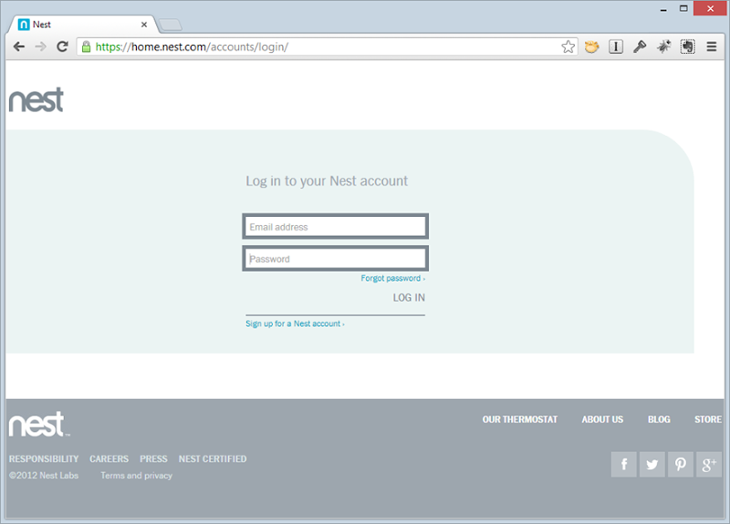 The Nest web login page