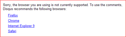 Disqus not supporting IE 8