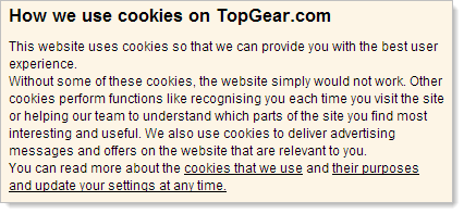 This website uses cookies so that we can provide you with the best user experience. Without some of these cookies, the website simply would not work. Other cookies perform functions like recognising you each time you visit the site or helping our team to understand which parts of the site you find most interesting and useful. We also use cookies to deliver advertising messages and offers on the website that are relevant to you.