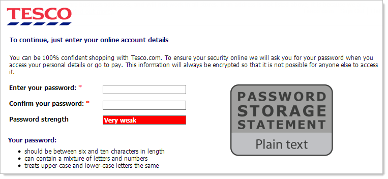 Tesco with a plain text storage password storage statement