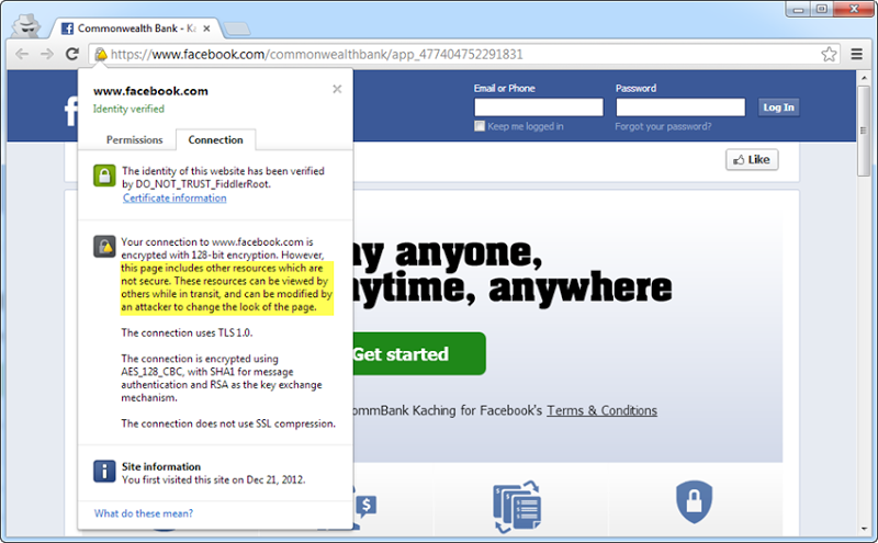 Mixed mode HTTP / HTTPS on the Facebook Kaching app