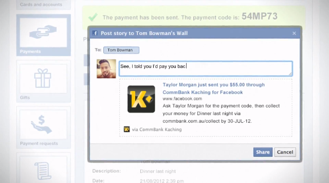 Posting payment info to a friend's wall
