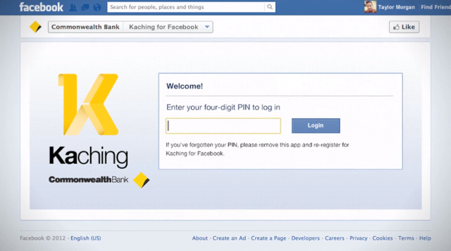 Entering your PIN into the Kaching app served by Facebook