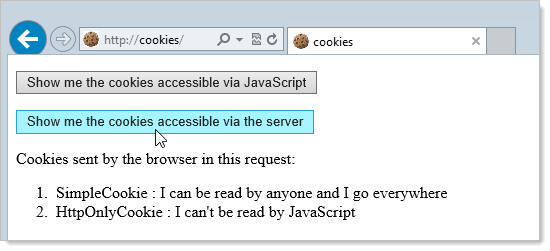Attempting to access server cookies over HTTP