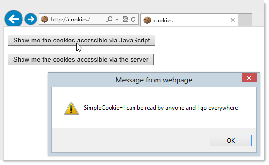 Attempting to access client cookies over HTTP