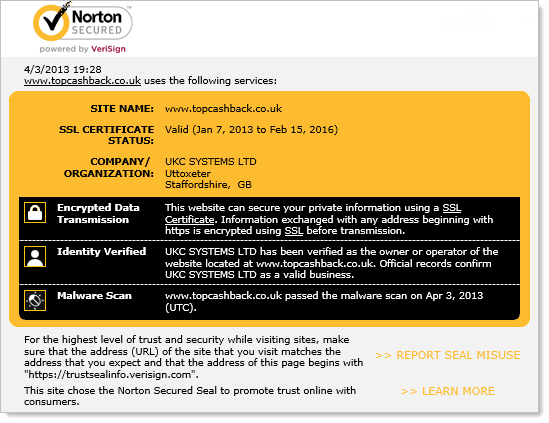Norton Secured report on site security