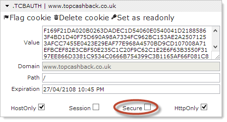 "Auth cookie not marked as ""secure"""