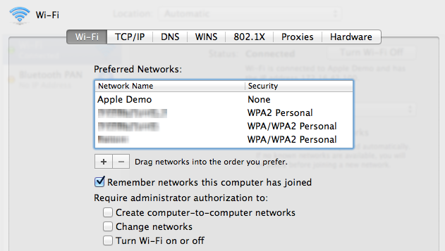 "The ""Apple Demo"" network at the top of the network priority list"