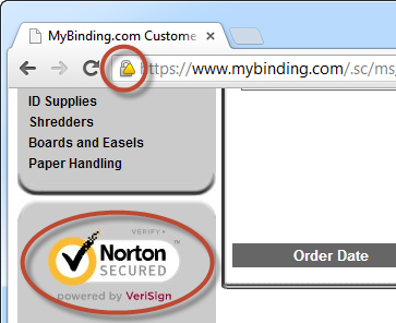 MyBinding.com website with mixed mode HTTP and HTTPS