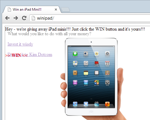 Win an iPad website showing the banking website on top of it