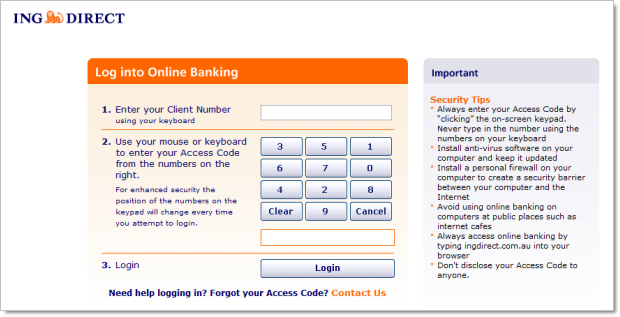ING Direct using a four digit PIN
