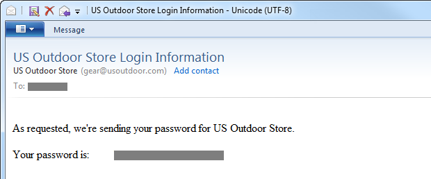 Password sent in plain text by usoutdoor.com