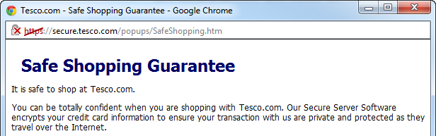 Tesco's Safe Shopping Guarantee with a security warning