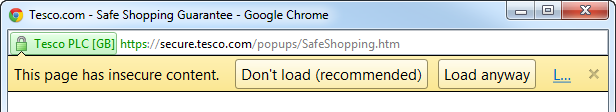 Mixed content warning from Chrome
