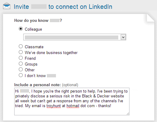 Contacting via LinkedIn