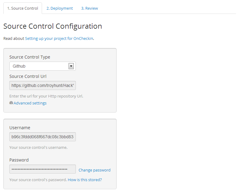 Configuring source control