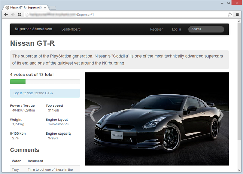 Supercar Showdown website