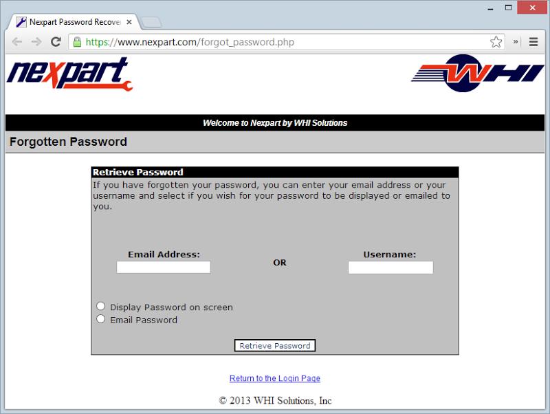 Nexpart forgotten password feature