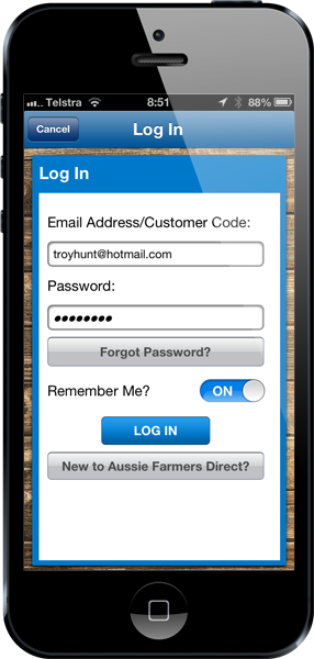 Logging on to the Aussie Farmers Direct app