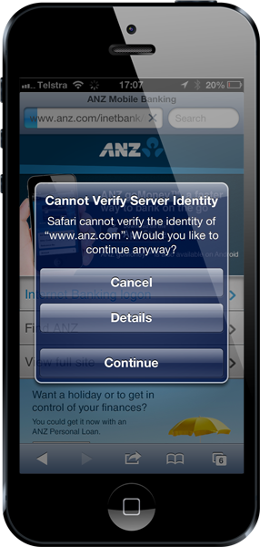 Mobile Safari warning of an invalid certificate on the ANZ website