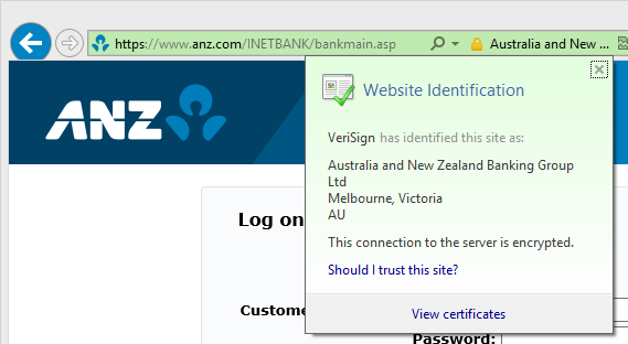 The ANZ website showing certificate information in Internet Explorer