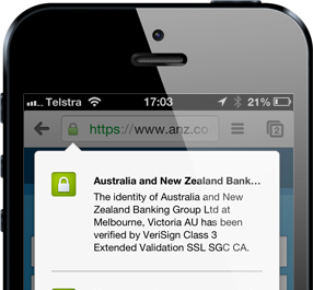 The ANZ website in mobile Chrome showing certificate information