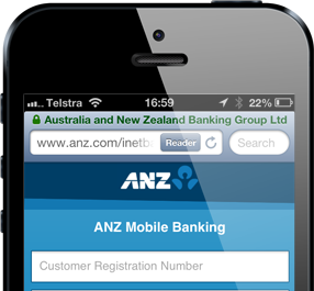 The ANZ website in mobile Safari showing the padlock icon