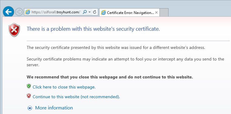 Certificate error loading the site over HTTPS