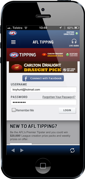 Logging in to the AFL footy tipping app