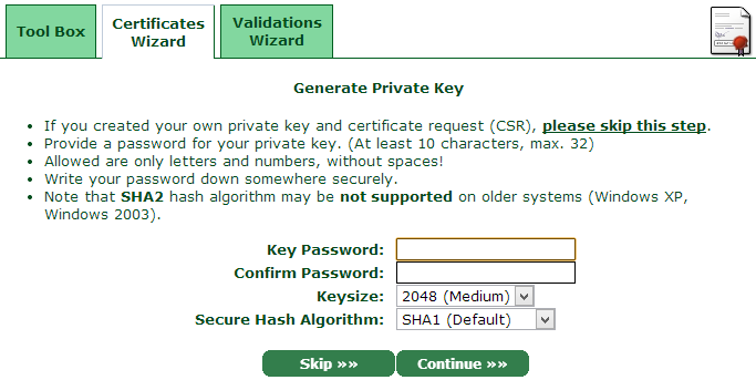 Generating a private key for the cert