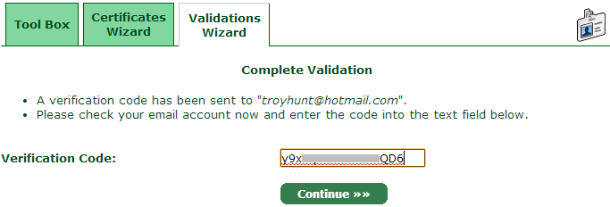 Entering the verification code for the domain