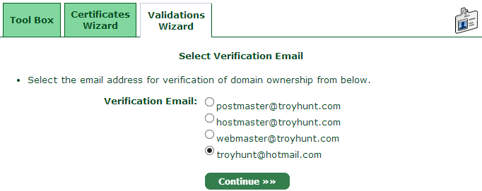 Choosing an email address for the verification email