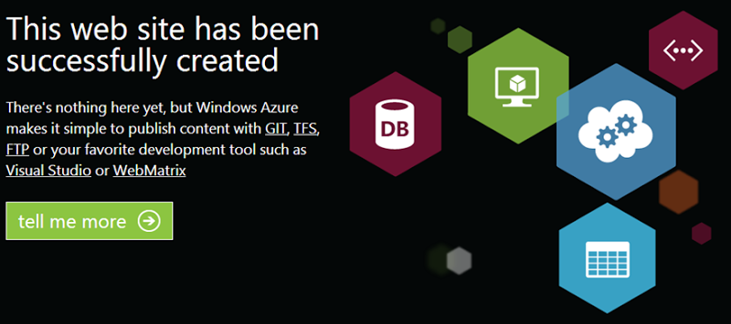 The default Azure web site screen
