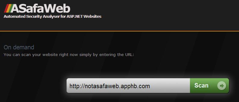 Scanning a site via ASafaWeb
