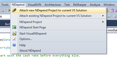 Attaching a new NDepend project