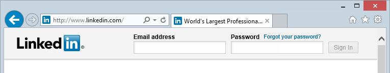 Loading the LinkedIn login page over HTTP