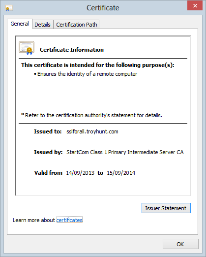 The new certificate loaded successfully into the browser