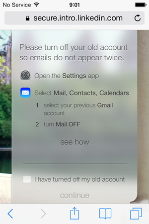 Instructions to turn off the original email account