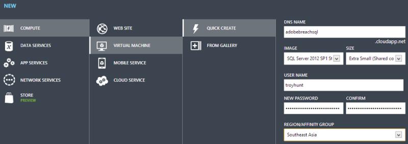 Creating a new SQL Server VM