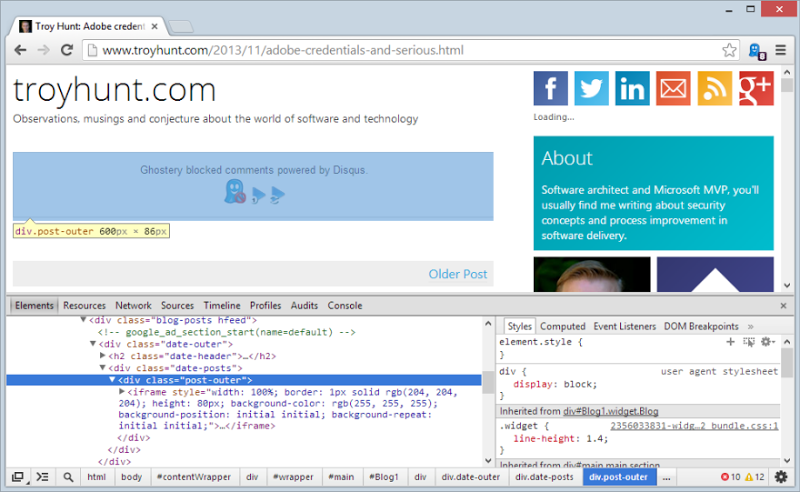 Ghostery message about blocking Disqus injected into the markup