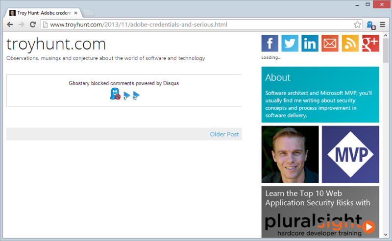 Ghostery hiding page contents