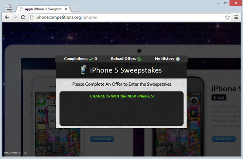 iPhone sweepstakes page